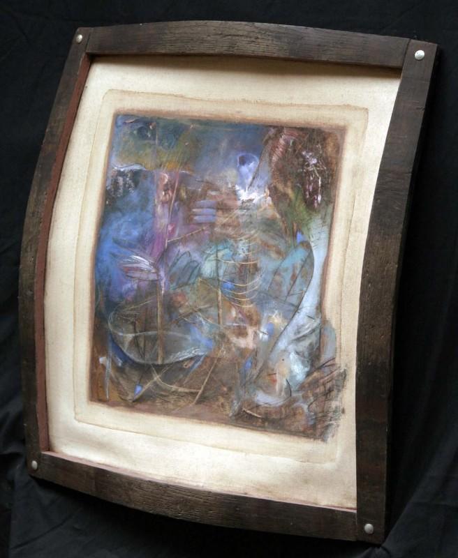 10-framed with oak barrel stave (detail)