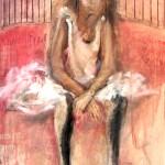 8-Bailarina-vino y acrílico sobre tela-0,60 x 0,80 m.