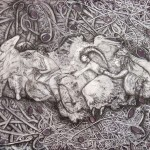 lilustrations-5-Exploring- II-0,40 x 0,30 Cm. Sediments of wine from La Mancha and Penedés and pencil on paper.